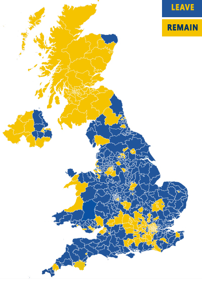 UK EU Referendum 2016 Results by Constituency